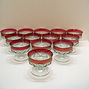 Vintage Tiffin King's Crown/Thumbprint Sundae/Sherbet Ruby Flashing Excellent Condition 1960s