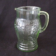 SALE 20% OFF Vintage Anchor Hocking Green Depression Glass Pitcher Vertical Optical panels Lat