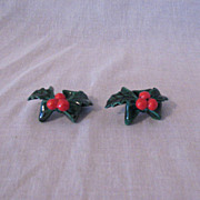 Vintage Pair Of Lefton Green Holly Candle Climbers Excellent Vintage Condition 1950-60s