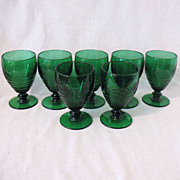 (7) Vintage Green Goblets with Rings Imperial/Anchor Hocking 1930s Excellent Condition