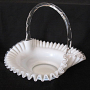 SALE 20% OFF Vintage Collectible Fenton Milk Glass Silver Crest 13 Inch Basket 1952 Excellent