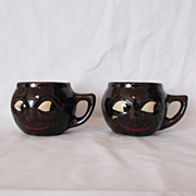 SALE Two Vintage Black Faced Ceramic Mugs 1950s Excellent Vintage Condition