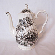 Vintage Myott England Staffordshire Ironstone 5-Cup Coffee Pot Royal Mail Pattern Like New ...