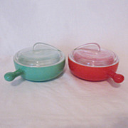 Vintage Pair of Glasbake French Casseroles Art Deco Type Lid 1940-50 Excellent Condition