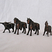 Vintage Collectible Miniature Metal Horses & Steer Figurine 1950-60s