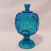 SALE 10% OFF Vintage L.E. Smith 8 Inch Tall Colonial Blue Compote with Lid Moon & Stars Patter