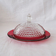 SALE 20 % OFF Vintage Westmoreland Cheese Dish Ruby Flashing English Hobnail Pattern 1930-40s 