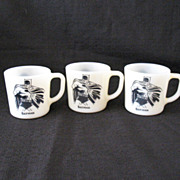 Vintage Comic Book Character (3) Batman Milk Glass Mugs by Westfield Copyright 1966 Excellent