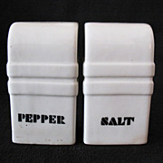 SALE 20 % OFF Vintage Collectible Ceramic Stove Top Range Set S & P Shakers 1930-40s Excellent