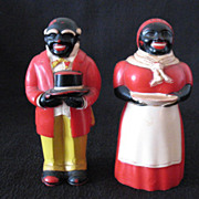 SALE 20% OFF Vintage Collectible Hard Plastic Aunt Jemima & Uncle Mose S&P Shakers by F & F Co