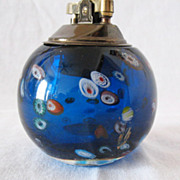 SALE 10% OFF Vintage Collectible Glass Lighter Millefiori Design In Glass Brass Top 1960s