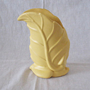 Vintage Yellow Pottery Vase Leaf/Fern Design 1940-50s Excellent Shape