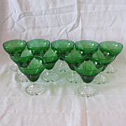 Vintage Anchor Hocking (11) Forest Green Juice Glasses Inspiration Pattern 1940-65 Like New Co