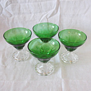 Vintage Anchor Hocking (4) Forest Green Sherbets Inspiration Pattern 1940-65 Like New Conditio