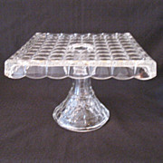 Vintage Indiana Glass Square Cake Stand Constellation Pattern 1940-62 Like New Condition