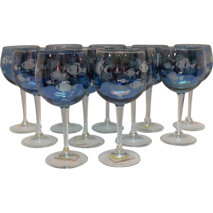 11 vintage italian wine glasses with etched fish motif for Wine with fish