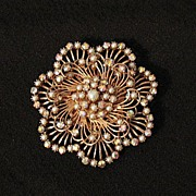 SALE Huge Sparkling Glass Pearl & AB Rhinestone Floral Brooch