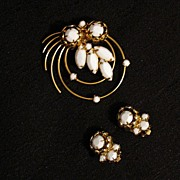REDUCED Beautiful Vintage Brooch & Earrings Set Pinwheel Navette White Opaque Waterfall~UNWORN