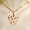 Vintage Hand Crafted 14KGF Necklace Love Pam Heart