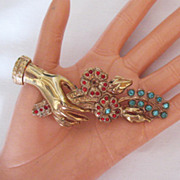 SALE Magnificent Vintage Hand Brooch Rhinestone Flower Bouquet