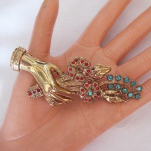 Magnificent Vintage Hand Brooch Rhinestone Flower Bouquet