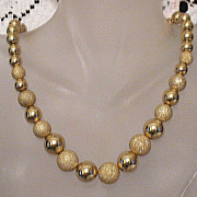 REDUCED Gorgeous Vintage Necklace Golden Sugar Coated Beads~Unworn