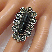 REDUCED Fabulous Vintage Ring Carved Onyx Tiki Face Sterling Silver~ Signed~BEAUTIFUL