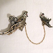 REDUCED Unusual Vintage Duet Bird Brooch Pin Rhinestones & Flowers~Unsigned Coro