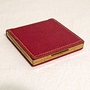 SALE Vintage Red Elgin American Powder Compact Red Leather~FABULOUS