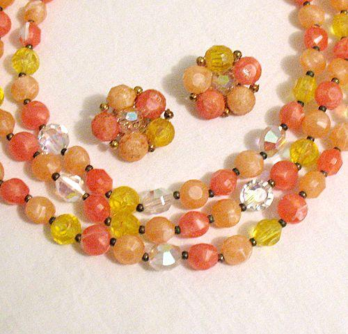Rare Vintage Signed Lisner Necklace & Earrings Set Triple Strand Glass & Plastic Beads