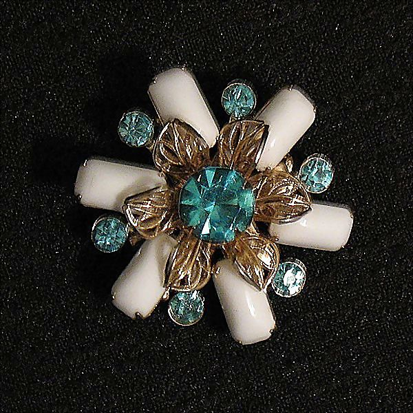 Beautiful Vintage Brooch Aqua Marine Rhinestone & White Glass Stones Filigree