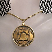 SALE Vintage 1976 Bicentennial Commemorative Necklace Embossed Bronze Medallion