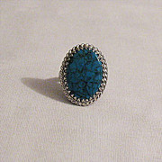 REDUCED Magnificent Signed Whiting & Davis Co Paris BOLD Ring~Fleur de Lis~Glass Turquoise Sto