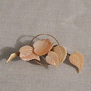 SALE Feminine Vintage Pink Coral Color Cut Glass Leaf Brooch~Unworn