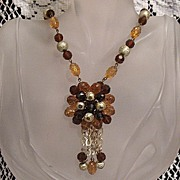SALE Vintage Unsigned Miriam Haskell Brass Guilt Beaded Tassel Necklace~Beautiful