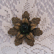 SALE 50% Off~Unusual Vintage Brass Brooch & Emerald Green Glass Stone~Flower