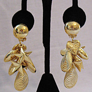 SALE Fabulous Vintage Dangle Charm Statement Earrings~Unworn