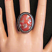 SALE Vintage Unsigned Florenza Glass Stone Statement Ring