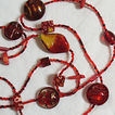 Amazing Vintage Glass Necklace~Cherry Red Art Glass & Floral Pressed Glass Bead