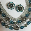 Vintage Signed West Germany 8 Strand Bib Necklace & Earrings Set
