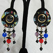 Vintage Paper Mache Pierced Earrings~Beaded Splatter Painted