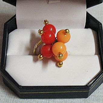 Mod Retro 1970s Vintage Cluster Beaded Ring