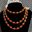 Fabulous Vintage Orange Bezel Set Glass Beaded 55� Long Necklace