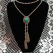 Vintage Delizza & Elster Juliana 'Ming Green' Bola Necklace Signed Avon~Unworn