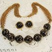 Spectacular Vintage Enameled Black & Gold Beaded Necklace & Earrings Set