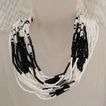 Vintage Torsade Necklace Cut Glass Black & White Floral Clasp