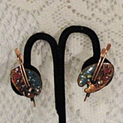 Vintage Signed Matisse Renoir Mid Century Earrings~Painters Palette