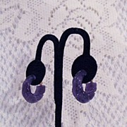 Fabulous Vintage Signed Avon Purple Lucite Hoop Clip Earrings