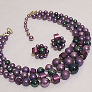 SALE Vintage Necklace & Earrings Set Rich Lavender & Black Peacock Beaded