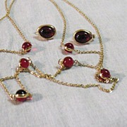 Vintage 44� Long Signed Avon Ruby Red Glass Necklace & Earrings Set~Amazing